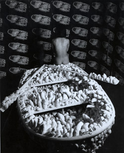 Kusama with 'Aggregation: 1000 Boat Show', Gertrude Stein Gallery, New York, 1963