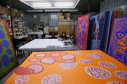 Kusama in her studio